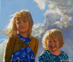 'Kitty and Dolly' (2015) 60x70cm, oil on canvas