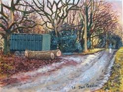 'Log Pile' (2016), oil on linen,